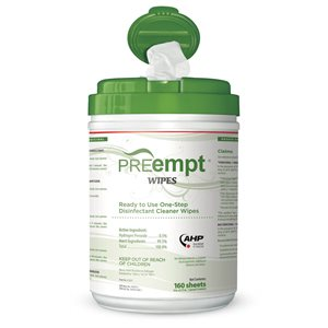 PREempt wipes, 6x7, 160 wipes per container, Qty 12